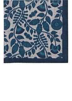 Barneys New York Men's Leaf-Print Wool Pocket Square - Turquoise