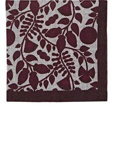 Barneys New York Men's Leaf-Print Wool Pocket Square - Red