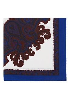 Barneys New York Men's Medallion-Motif Silk Pocket Square - Blue