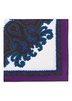 Barneys New York Men's Medallion-Motif Silk Pocket Square - Purple