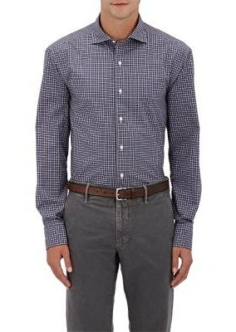 Barneys New York Men's Micro-Checked Poplin Shirt