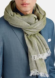 Barneys New York Men's Mélange Linen-Cotton Scarf - Olive