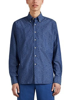 Barneys New York Men's Paisley Cotton Poplin Button-Down Shirt
