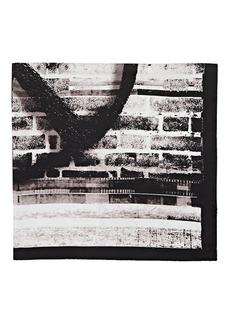 Barneys New York Men's Peace-Sign Silk Pocket Square - Black