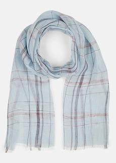 Barneys New York Men's Plaid Linen Scarf - Blue