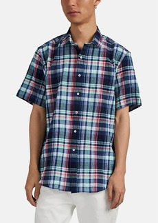Barneys New York Men's Plaid Seersucker Cotton Shirt
