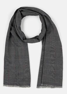 Barneys New York Men's Plaid Wool-Silk Scarf - Navy