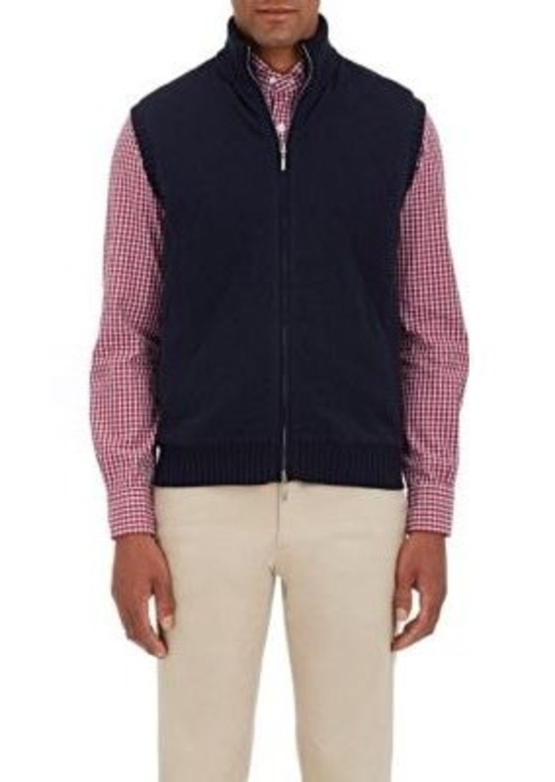 Barneys New York Men's Quilted Cashmere Knit Vest-NAVY Size S