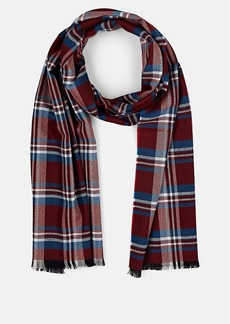 Barneys New York Men's Self-Fringed Wool Plaid Scarf - Red