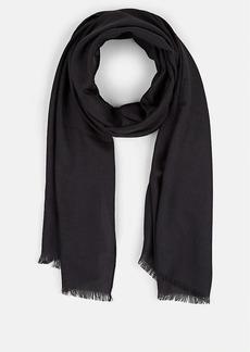Barneys New York Men's Self-Fringed Wool-Silk Scarf - Charcoal