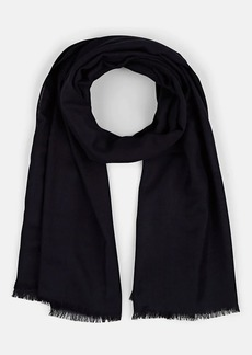 Barneys New York Men's Self-Fringed Wool-Silk Scarf - Navy