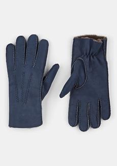 Barneys New York Men's Shearling-Lined Nubuck Gloves