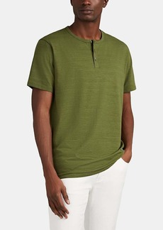 Barneys New York Men's Slub Cotton-Modal Short-Sleeve Henley