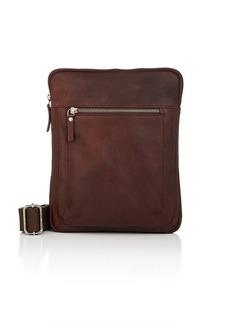 Barneys New York Men's Small Leather Messenger Bag - Brown