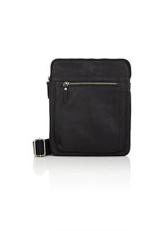 Barneys New York Men's Small Leather Messenger Bag - Black