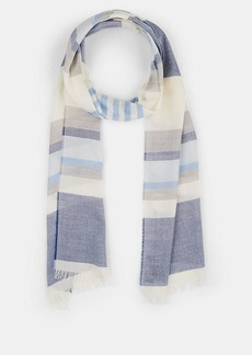 Barneys New York Men's Striped Cotton-Cashmere Scarf - Blue