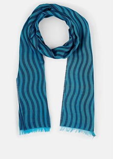 Barneys New York Men's Striped Cotton Scarf - Green
