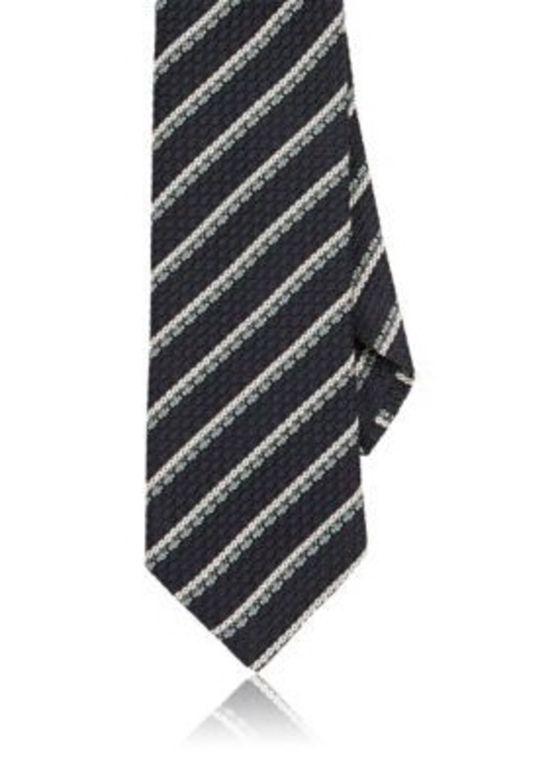 Barneys New York Men's Striped Silk Necktie-Green