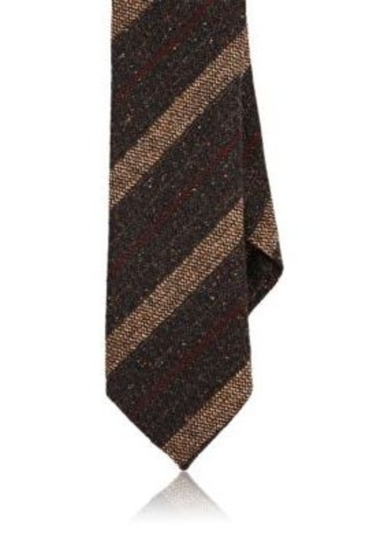 Barneys New York Men's Striped Silk-Wool Necktie-Brown