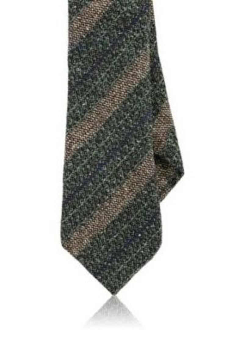 Barneys New York Men's Striped Silk-Wool Necktie-GREEN