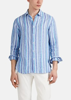 Barneys New York Men's Striped Slub Linen Button-Front Shirt