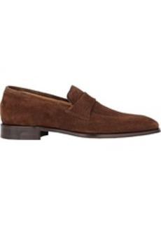 Barneys New York Men's Suede Apron-Toe Loafers