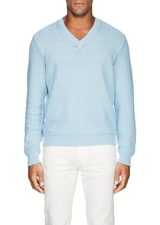 Barneys New York Men's Textured-Knit Cotton V-Neck Sweater