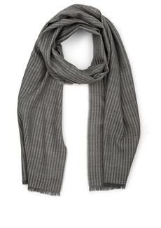 Barneys New York Men's Thin-Striped Wool Scarf - Gray