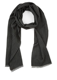 Barneys New York Men's Thin-Striped Wool Scarf - Gray