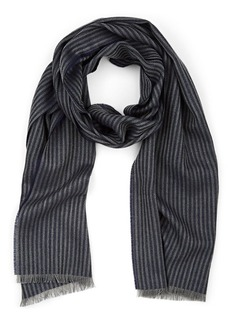 Barneys New York Men's Thin-Striped Wool Scarf - Navy