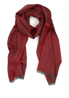 Barneys New York Men's Thin-Striped Wool Scarf - Red