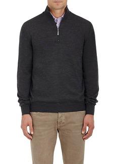 Barneys New York Men's Virgin Wool Mock-Turtleneck Zip-Front Sweater