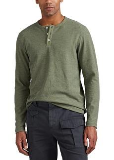 Barneys New York Men's Waffle-Knit Cotton-Blend Long-Sleeve Henley