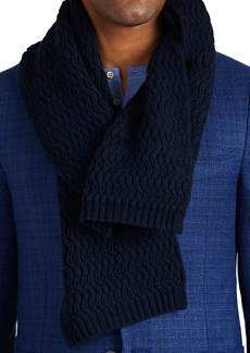 Barneys New York Men's Wave-Stitched Cashmere Scarf - Navy