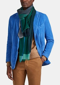 Barneys New York Men's Wispy Colorblocked Cashmere Scarf - Green