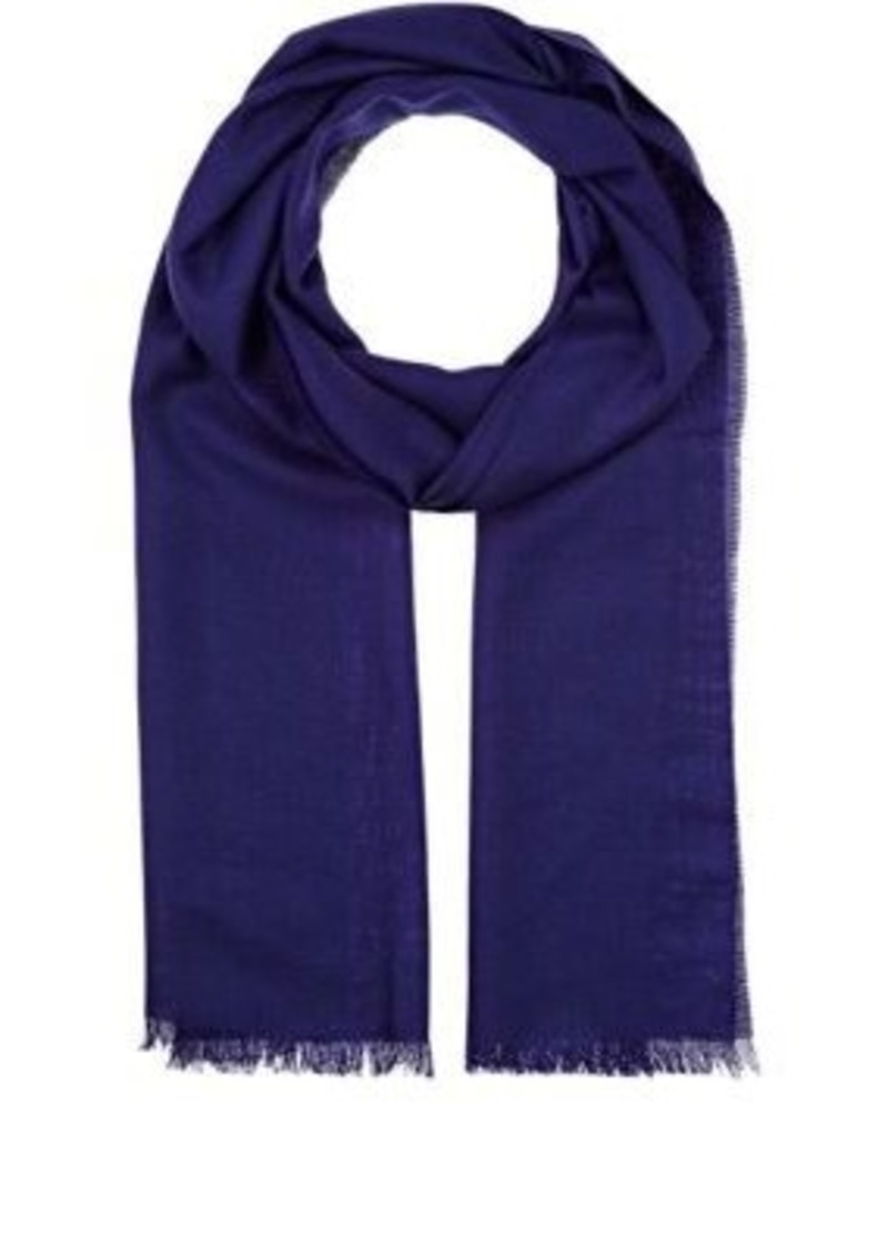 Barneys New York Men's Wool Houndstooth Scarf-BLUE