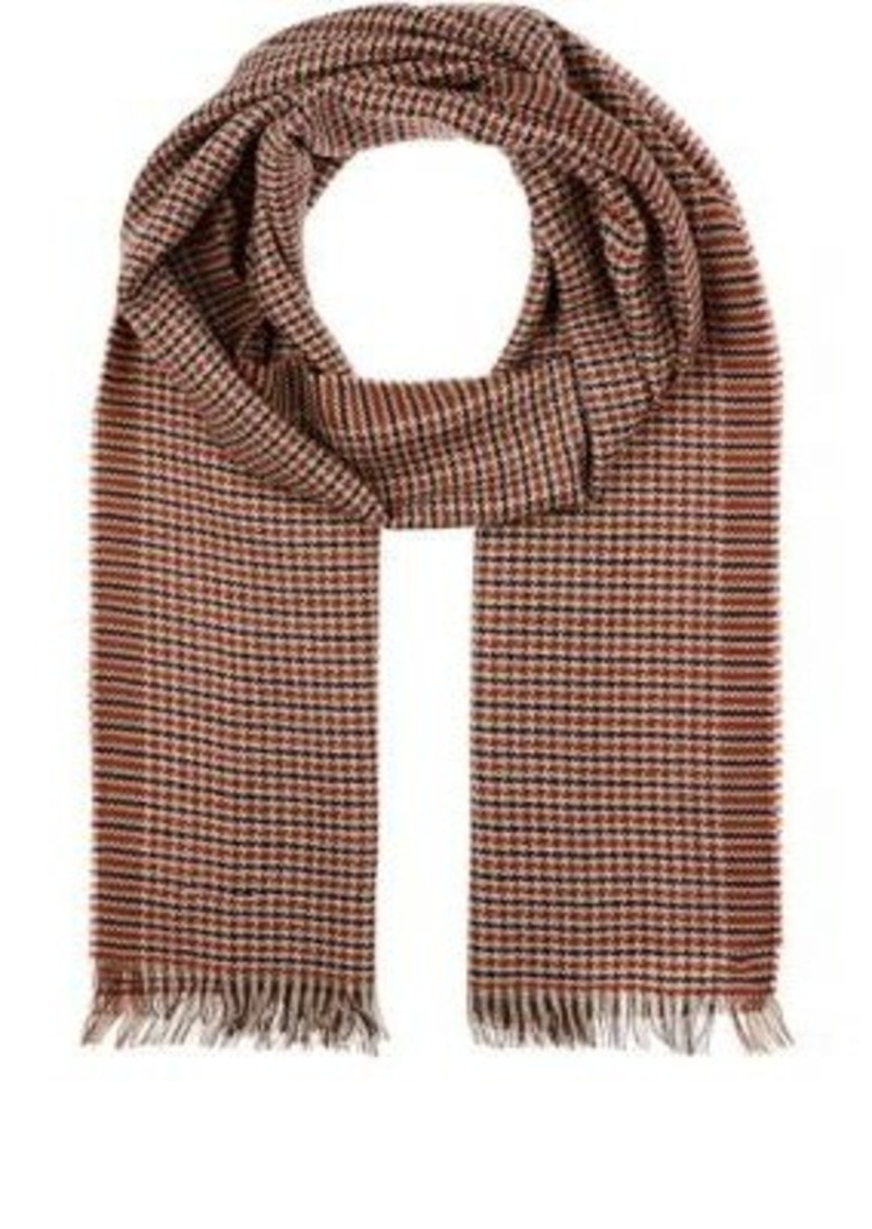 Barneys New York Men's Wool Houndstooth Scarf-RED
