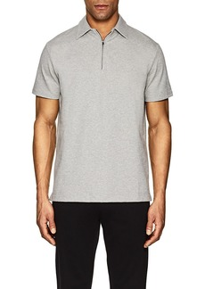 Barneys New York Men's Zip-Front Cotton French Terry Polo Shirt