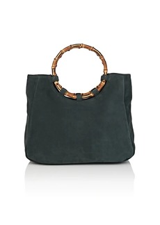 Barneys New York Women's Bamboo-Trimmed Suede Tote Bag - Green