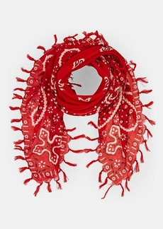 Barneys New York Women's Bandana-Print Cotton Scarf - Red