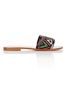 Barneys New York Women's Beaded Knit Slide Sandals