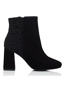 Barneys New York Women's Beaded Suede & Velvet Ankle Boots