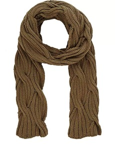 Barneys New York Women's Cable-Knit Scarf - Dk. Green
