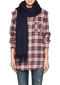 Barneys New York Women's Cashmere Flannel Scarf - Navy