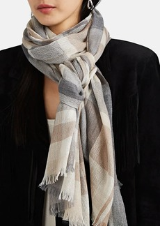 Barneys New York Women's Cashmere Plaid Scarf - Neutral