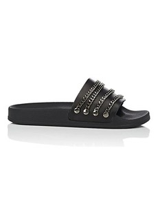 Barneys New York Women's Chain-Embellished Leather Slide Sandals