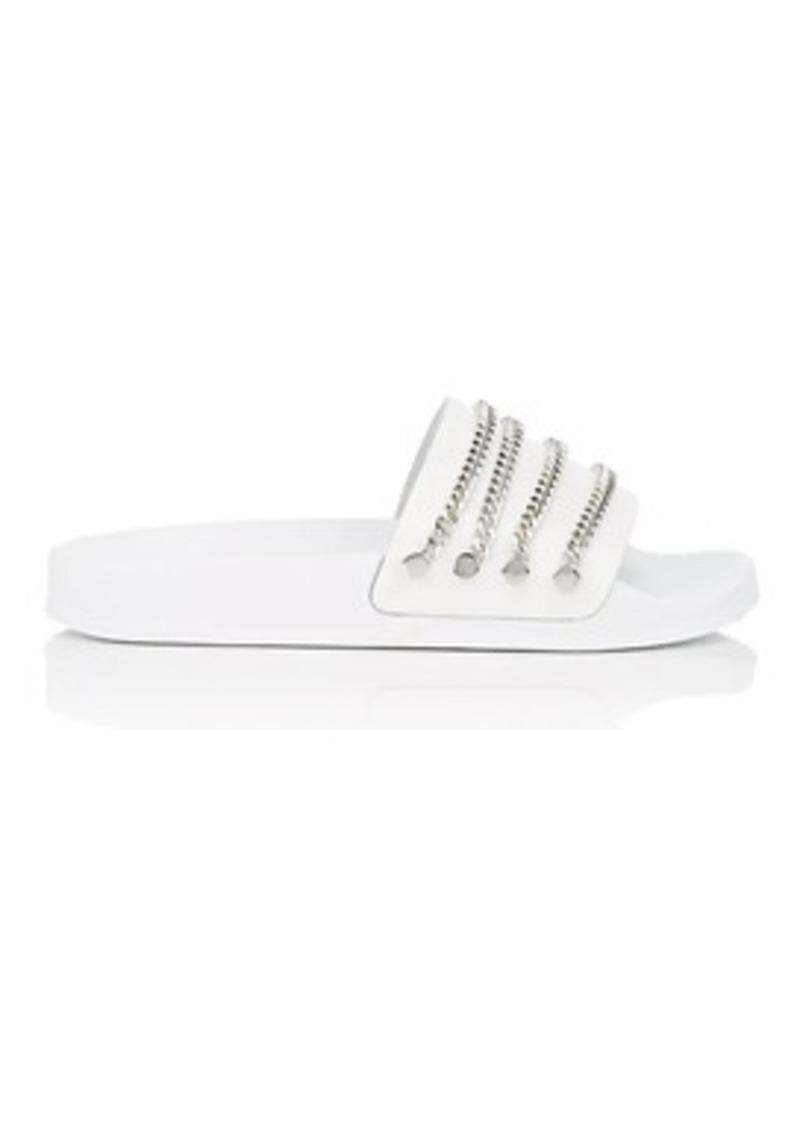 Barneys New York Women's Chain-Embellished Leather Slide Sandals