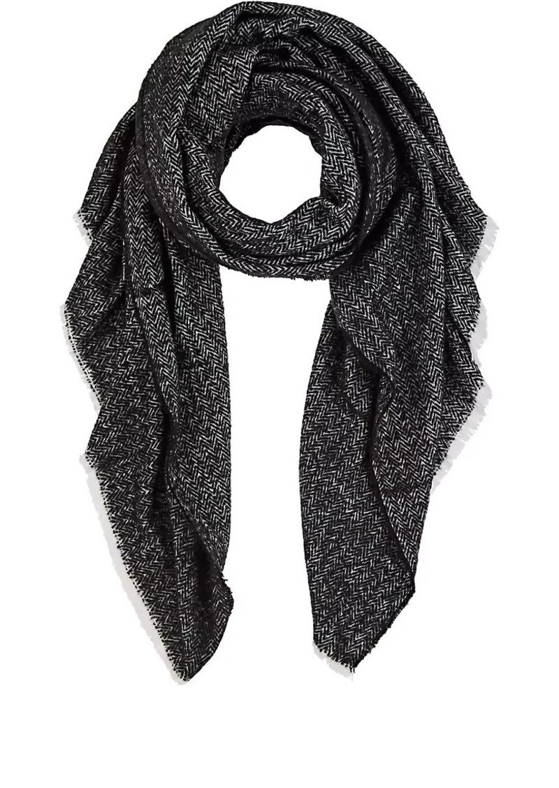 Barneys New York Women's Chevron-Knit Blanket Scarf - Wht.&blk.