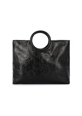 Barneys New York Women's Circular-Handle Leather Tote Bag - Black