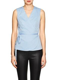 Barneys New York Women's Cotton-Blend Chambray Wrap Blouse